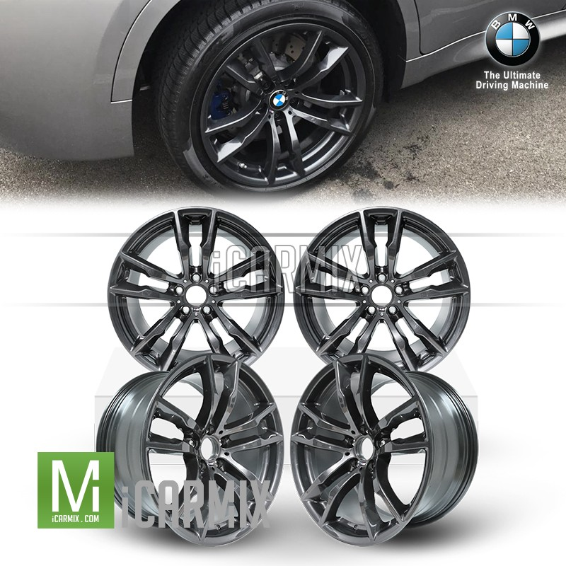 "Genuine BMW OEM 20"" M Double 611 Spoke Front & Rear Light Alloy Disc Wheel 20"" For BMW X5 F15 F85 X5M X6 F16 F86 X6M -Orbit Grey"