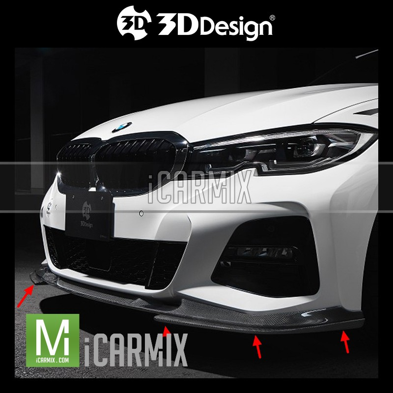 3D Design Performance Carbon Fibre Front Splitter Apron For BMW 3 Series G20 G21 - 2018-2019