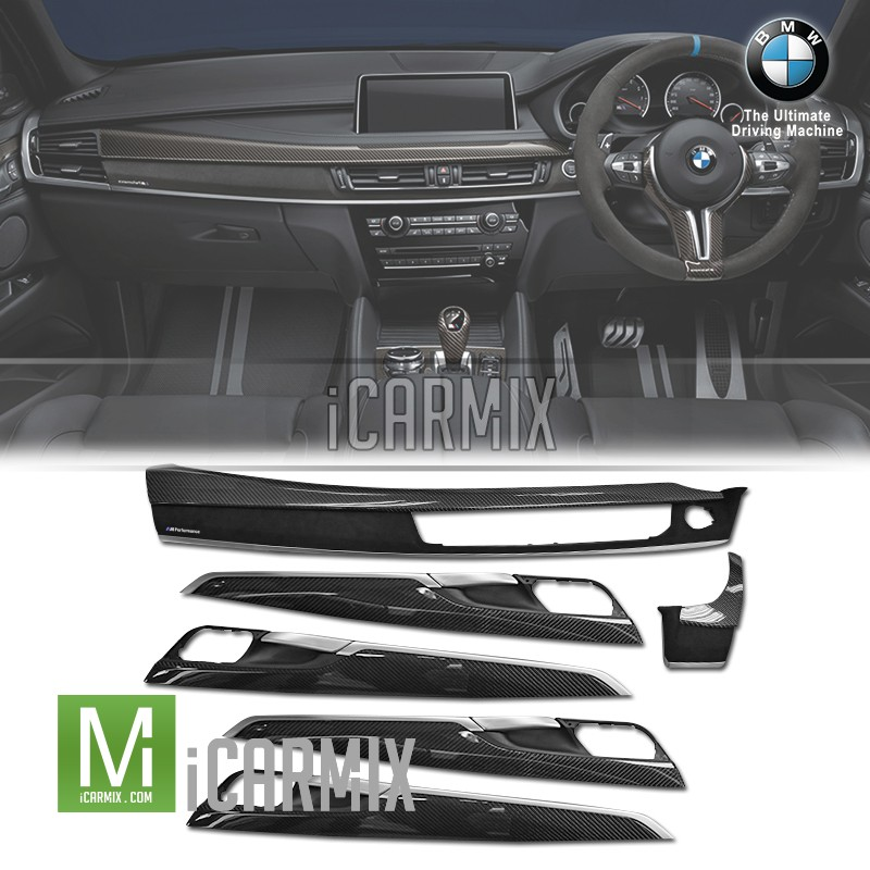 Genuine oem bmw m performance carbon fibre alcantara replacement interior trim set for x5 f15 for Aftermarket car interior parts