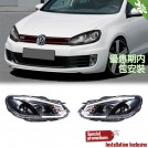 Projector Front Head Light Lamp w/ Motor w/ DRL [Black Base] For Golf 6 MK6 2008-2012 (RHD)
