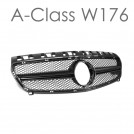 EURSPEC Front Grille AMG Style For Mercedes Benz A Class W176 Pre Facelift - 2012-2015 (Matt Black)