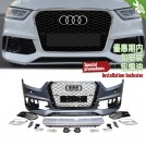 OES Body Parts PP Front Bumper RS Style W/ ACC W/ Chrome Front Grille For Audi Q3 8U Pre Facelift - 2011-2014