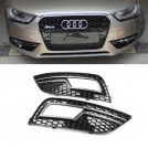 RS4 Style Honeycomb Front Bumper Fog Lamp Cover for Audi A4 B8 (13'~15')
