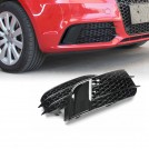 RS1 Style Honeycomb Front Bumper Fog Lamp Cover for Audi A1 (10'~14') - Gloss Black