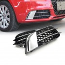 RS1 Style Honeycomb Front Bumper Fog Lamp Cover for Audi A1 (10'~14') - Silver Chrome
