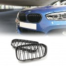 EURSPEC Dual Slats Front Grille For BMW 1 Series F20 F21 LCI (2015-2016) - Gloss Black