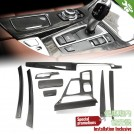 Dry Carbon Fibre M Performance Interior Trim Set For BMW F10 F11 (AT) - 9PCS (Engine Button Hole [ O ])