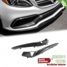 EURSPEC Carbon Fibre Front Diffuser TYPE OE For Mercedes Benz C Class W205 Sedan / C205 Coupe - 2014 - 2016 (C63 AMG Bumper)