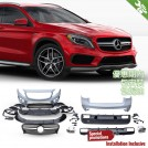 OES Front & Rear Bumper 45 Style Body Kit Set W/ Front Grille For Mercedes Benz GLA Class X156 - 2013-2018