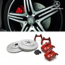 Genuine OEM AMG A45 CLA45 Rear 1 Pot Caliper 330mm Brake Disc Brake Kit (Red) For Mercedes Benz W176 W117 C117 X156