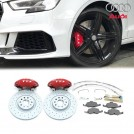 Genuine OEM Audi Front Brake Kit 4 Pot (Red) With Zimmermann 340mm Brake Disc For  AUDI TT TTS TTRS / A3 S3