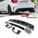 Quad Square Exhaust Tip W/ Rear Diffuser(Black Plate) A45 AMG Style (oo-oo) For Mercedes Benz A Class W176 Pre & Facelift - 2013- 2017 (A45/AMG Bumper)