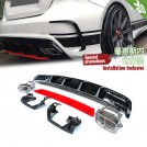 Quad Square Exhaust Tip W/ Rear Diffuser(Red Plate) A45 AMG Style (oo-oo) For Mercedes Benz A Class W176 Pre & Facelift - 2013- 2017 (A45/AMG Bumper)