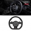 Genuine OEM AUDI S-Line Perforated & Smooth Leather Flat Bottom Steering Wheel W/ Air Bag For A1 A6 A7