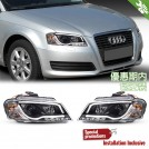 Projector Front Head Light Lamp w/ DRL w/ Black Base For Audi A3 8P Facelift 2008-2012 (RHD)
